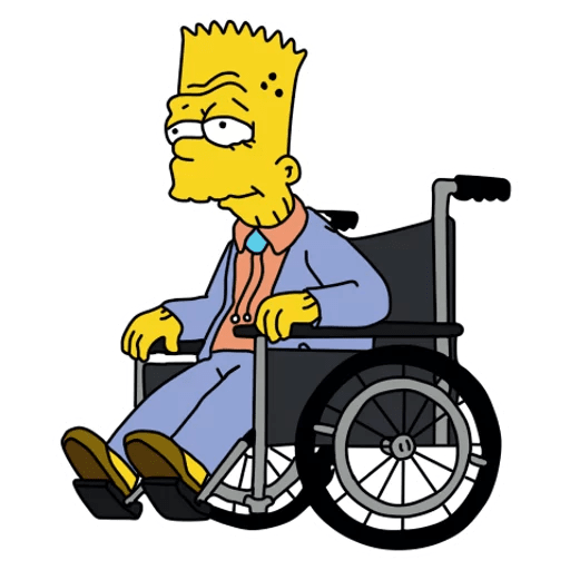 Old Bart Simpson on a Wheelchair