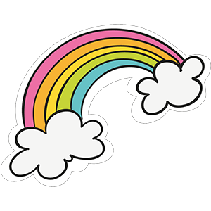 Rainbow with Clouds Clipart Sticker