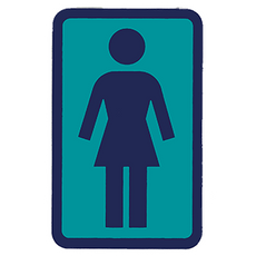 Girl Skateboarding Blue Logo Sticker