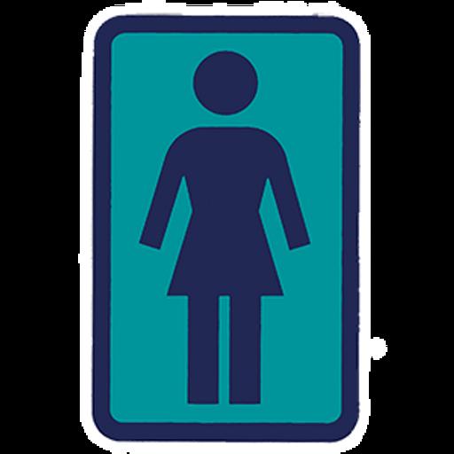 Girl Skateboarding Blue Logo Sticker