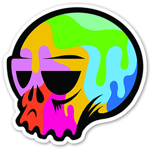 Colorful Skull popart sticker