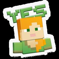 Minecraft girl Yes! sticker