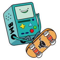 Adventure Time BMO Skating Sticker