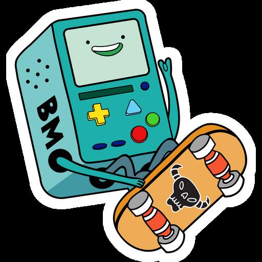 Adventure Time BMO Skating Sticker