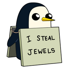 Adventure Time Gunter I Steal Jewels Sticker