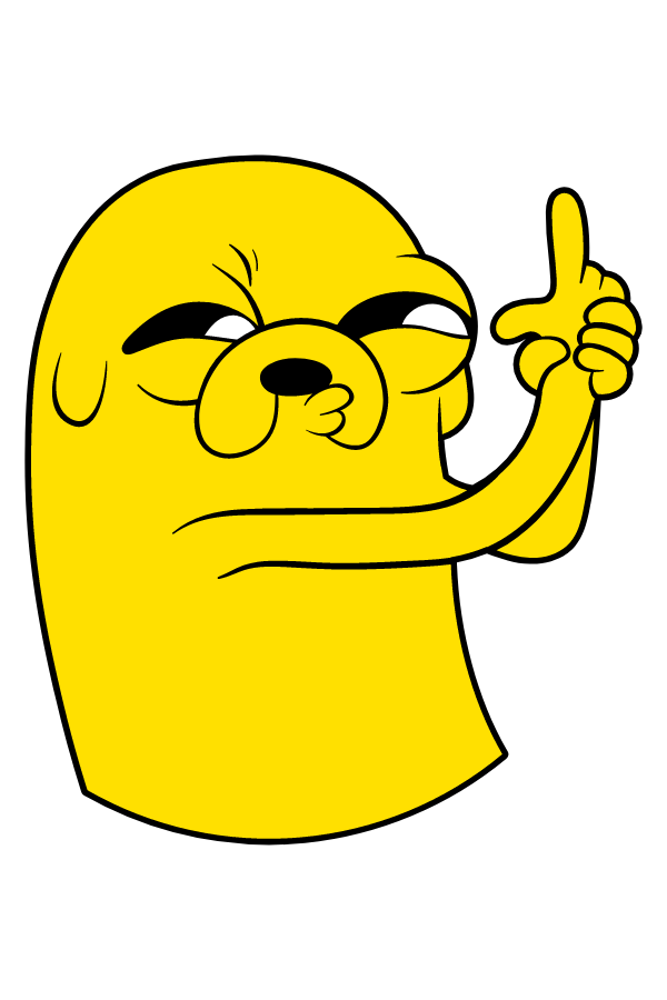 Adventure Time Jake Finger Gun Sticker