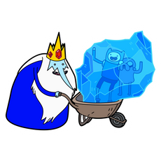 Adventure Time Ice King with Frozen Jake and Finn Sticker