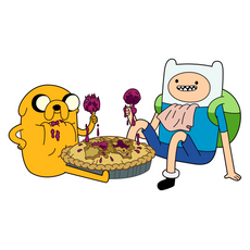 Finn and Jake Eating Pie Sticker