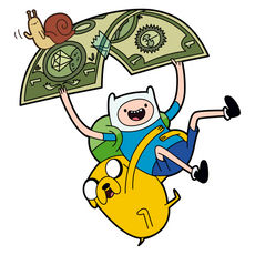 Finn and Jake Flying on Dollar Sticker