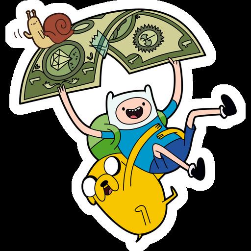 Finn and Jake Flying on Dollar Sticker