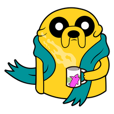 Adventure Time Jake with Tea Sticker