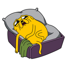 Adventure Time Sad Jake in Bed Sticker