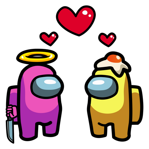 Among Us Characters in Love Sticker