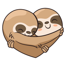 Cute Sloths Love Heart Sticker