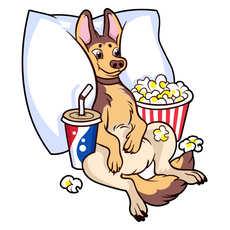 Dog Watching a Movie Sticker