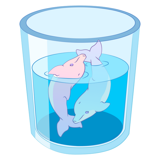 Dolphins in The Glass Sticker