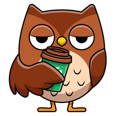 Owl with Coffee Sticker