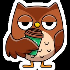 Owl with Coffee Sticker