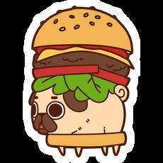 Puglie Pug Burger Sticker