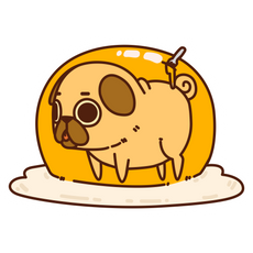 Puglie Pug Egg Sticker