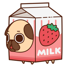 Puglie Pug Strawberry Milk Sticker