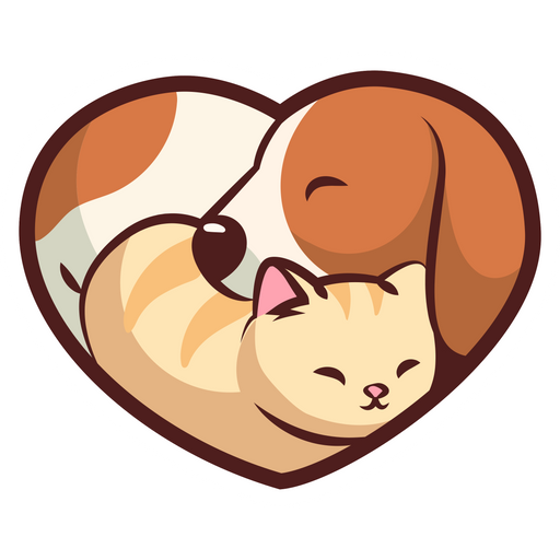 Dog and Cat Heart Sticker