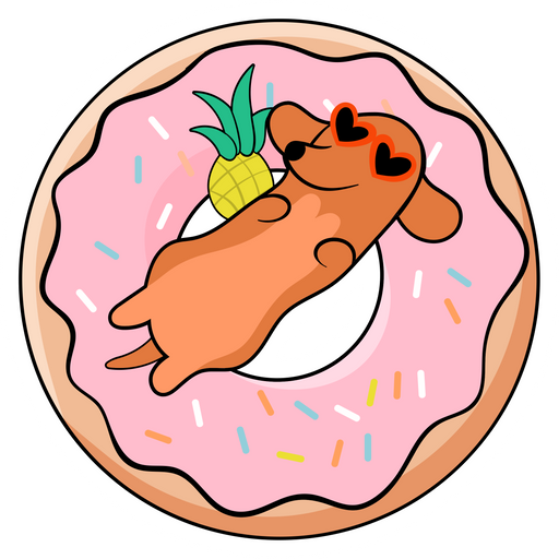 Dachshund Dog Chill on Swimming Ring Sticker