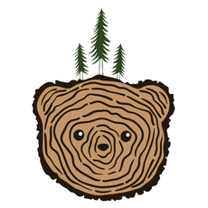 Wood Slice Texture Bear Head Sticker