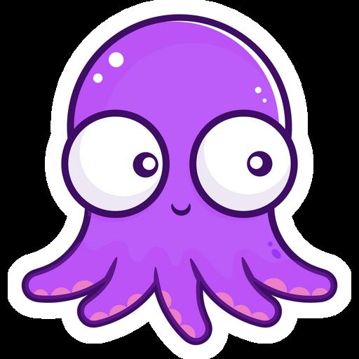 Сute Purple Octopus Sticker