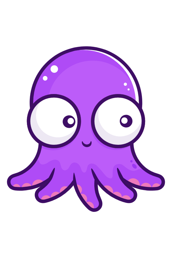 Сute Purple Octopus Sticker