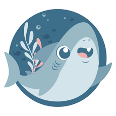 Cute Blue Shark Round Sticker