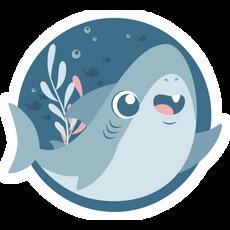 Cute Blue Shark Round Sticker