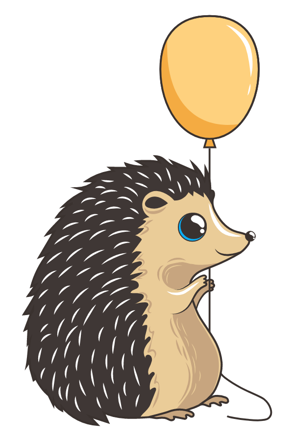 Cute Hedgehog with Yellow Balloon Sticker