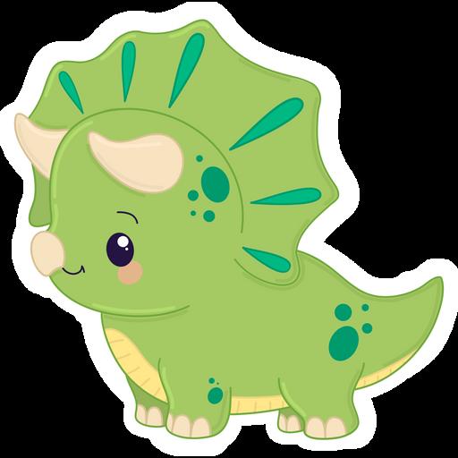 Cute Green Triceratops Dinosaur Sticker
