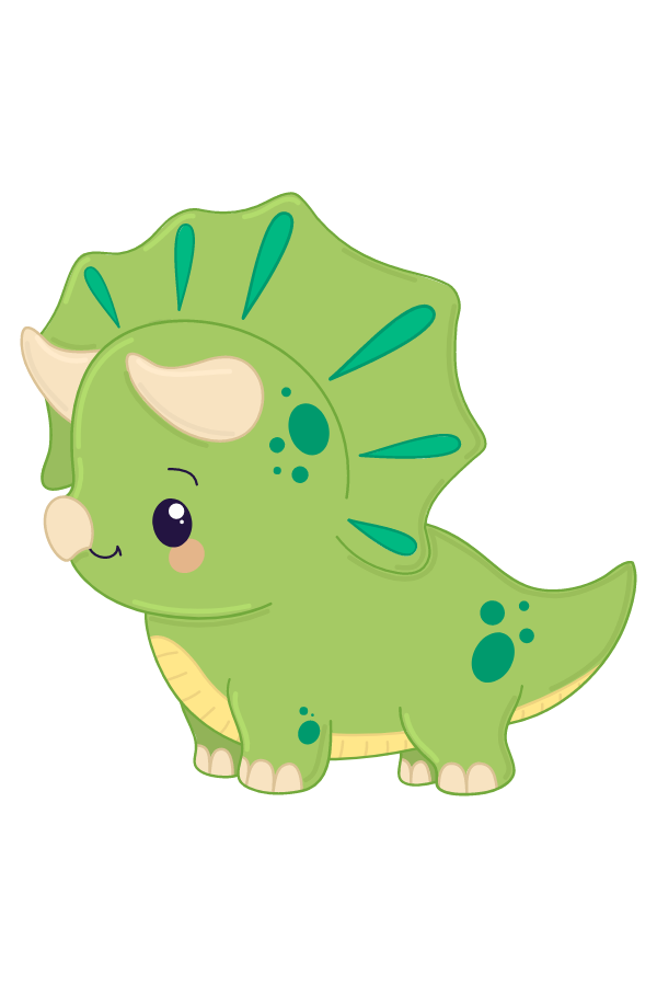 Cute Green Triceratops Dinosaur Sticker