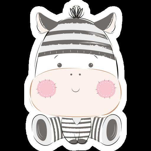 Cute Zebra Plush Toy Sticker