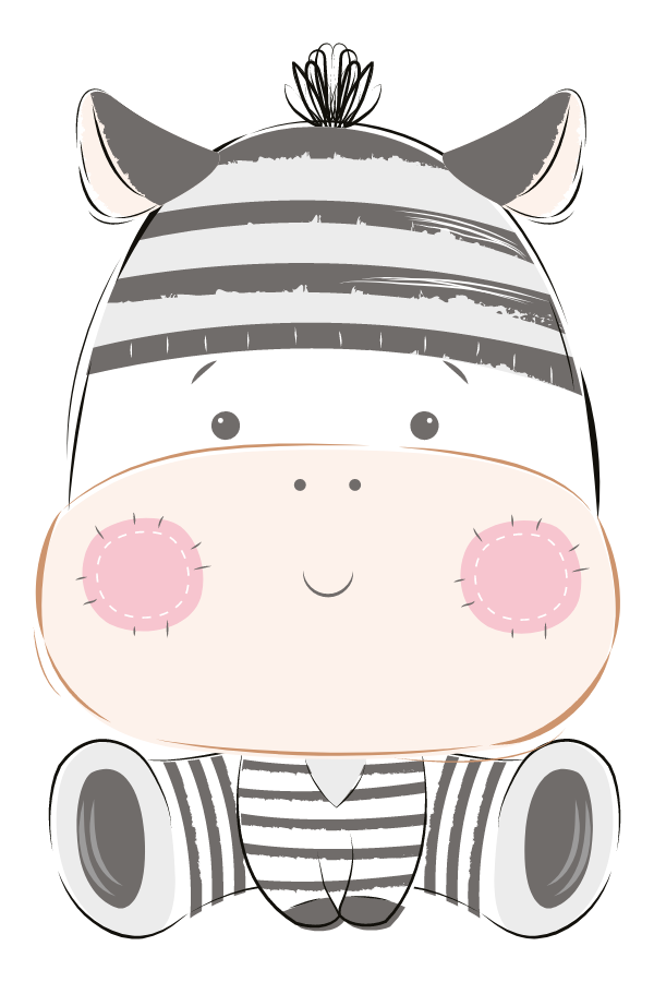 Cute Zebra Plush Toy Sticker
