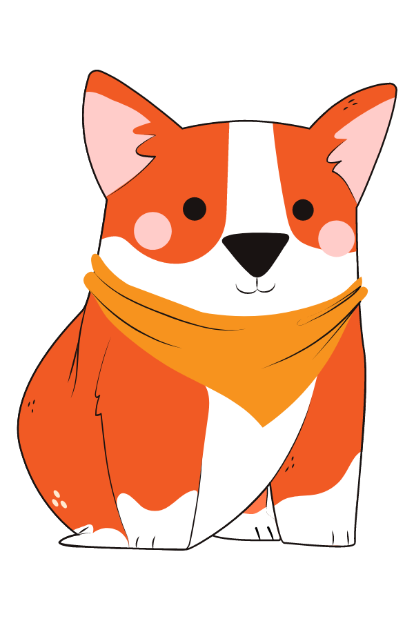 Corgi Dog with Bandana Sticker