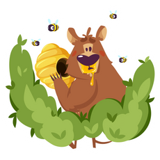Bear and a Beehive Sticker