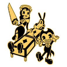 Showbiz Bendy Alice Angel and Boris The Wolf Sticker
