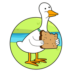Adventure Time Duck Eating Bread Sticker