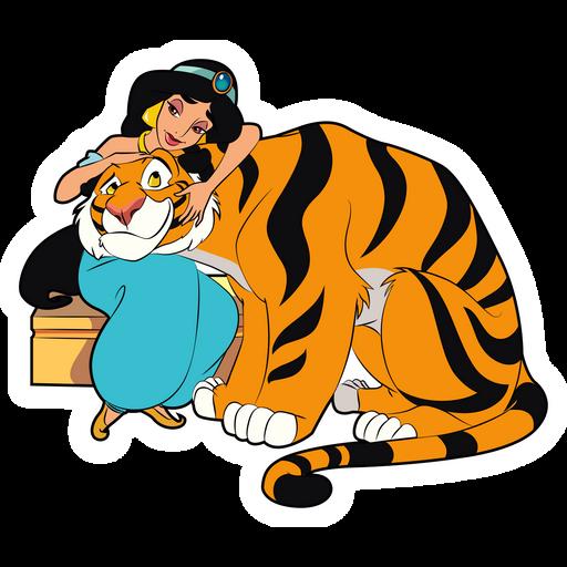 Aladdin Jasmine and Rajah Sticker