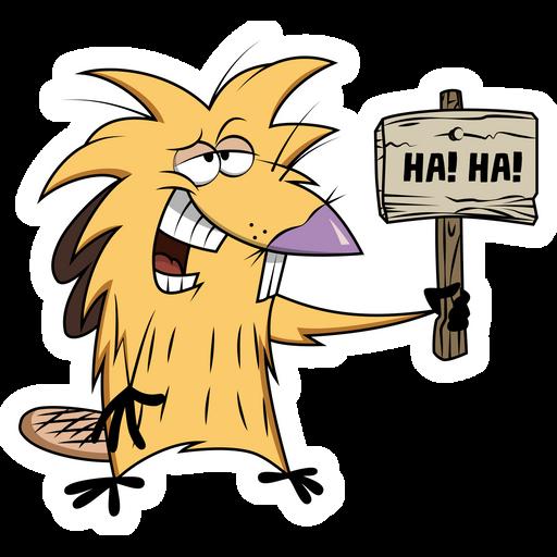 Angry Beavers Norbert Beaver Ha Ha Sticker
