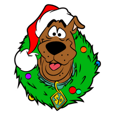 Scooby-Doo with Christmas Wreath Sticker