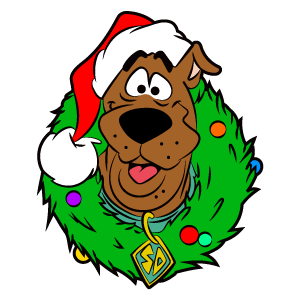 Scooby-Doo with Christmas Wreath