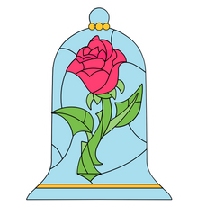 Beauty and the Beast Rose Stained Glass Sticker