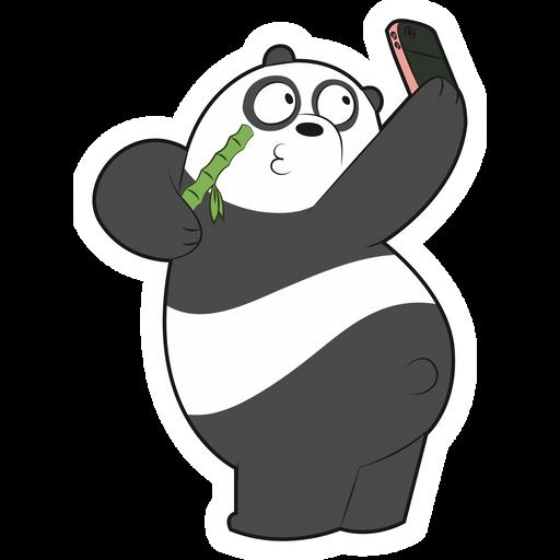 We Bare Bears Panda Selfie Sticker