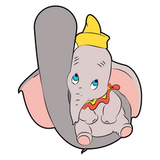 Dumbo Sits on Mom's Trunk Sticker