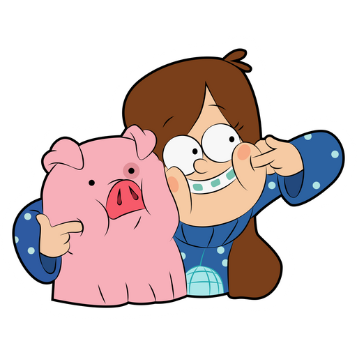 Cheeky Mabel and Waddles Sticker