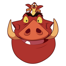 The Lion King Timon Rides Pumbaa Sticker